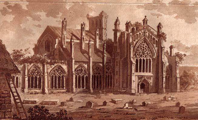 Melrose Abbey in the Scottish Borders, one of the great abbeys built during the reign of David I
