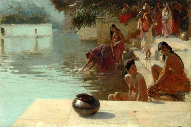 Indian Village Women Bathing Woman S Place Oodeypore India