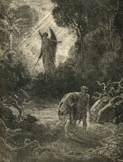 The dore gallery of bible illustrations for Expulsion from the garden of eden