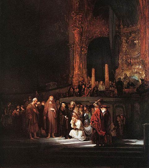 لوحات عالمية : رامبرانت - صفحة 2 Christ_and_the_Woman_Taken_in_Adultery