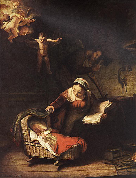 لوحات عالمية : رامبرانت The_Holy_Family_with_Angels