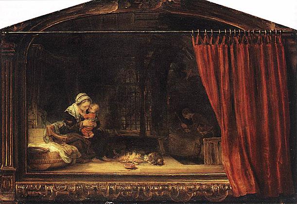 لوحات عالمية : رامبرانت The_Holy_Family_with_a_Curtain