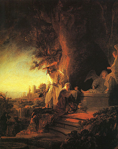 لوحات عالمية : رامبرانت The_Risen_Christ_Appearing_to_Mary_Magdalen